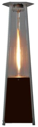 True Commercial Propane Hammered Bronze 3-Sided Pyramid Style Quartz Tube Patio Heater with Wheels LP