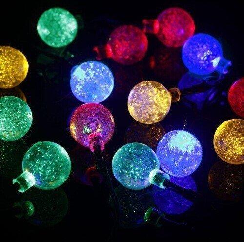 E-BroSolar Powered 20 LED String Lights Crystal Ball for Outdoor Garden Globe Patio Christmas Party Wedding Multi Color