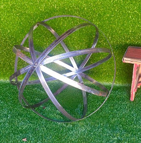 Steel Topiary Garden Spheres - Handmade Decorative Lawn Garden Ornament Sphere 18in Steel Finish