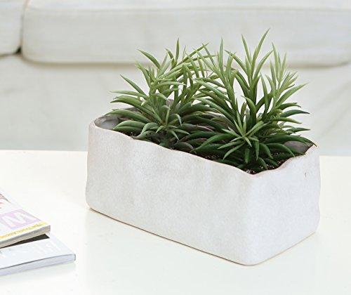 Faux Stone Ceramic Succulent Planter Box Small Plant Flower Pot Off-White