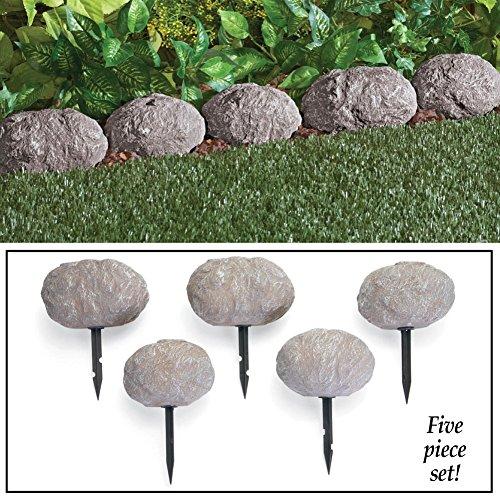 Set Of 5 Stone Rock Look Stake Garden Path Outdoor Pathway Trail Flowerbed Walkway Edging Border Yard Decor