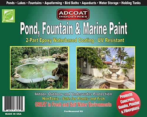 Pond Fountain Marine Paint - 2-Part Acrylic Epoxy - Interior Exterior - 1 Gallon Kit - Calming Blue