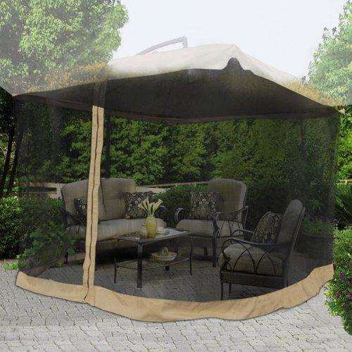 9x9 Square Feet 79 H Patio Umbrella Mosquito Net Gazebo Top Replacement Blk Mesh Netting Tan Edge w Zipper Velcro Light Weight for Outdoor Canopy Cover Screen