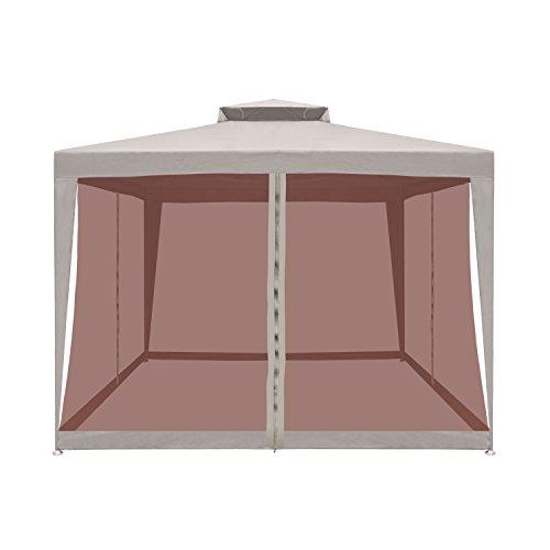 ALEKO GZB002 Double Roof 10 X 10 Foot Polyester Patio Gazebo with Mesh Netting Picnic Sun Shade Sand