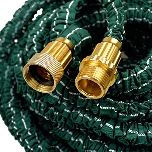 Yowosmart 100 Ft Garden Hose Double Latex Strongest Durable Expandable Garden Magic Hose and 8 Function Spray Nozzle Brass Ends Extra Strength Fabric Brass Connectors and 8-pattern Sprayer