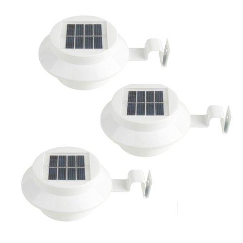 3Pcs Solar Powered Gutter Door Fence Wall LED Light Outdoor Garden Lighting