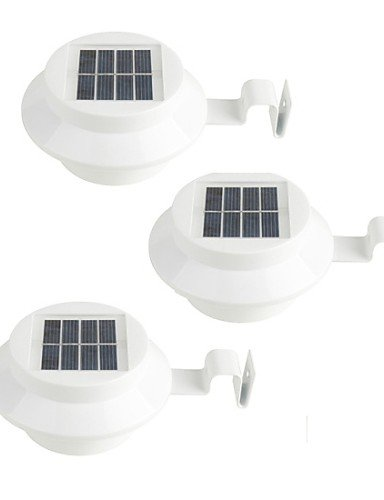 HYY 05 3Pcs Solar Powered Gutter Door Fence Wall LED Light Outdoor Garden Lighting  white