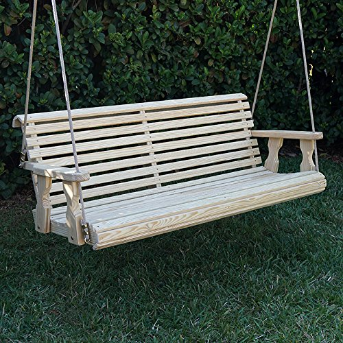 Amish Heavy Duty 800 Lb Roll Back Treated Porch Swing With Hanging Ropes 5 Foot Unfinished