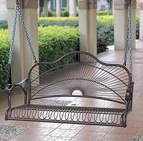 Durable Iron Patio Furniture Sun Ray Iron Porch Swing Hammock Measures 455Wx235Hx21D