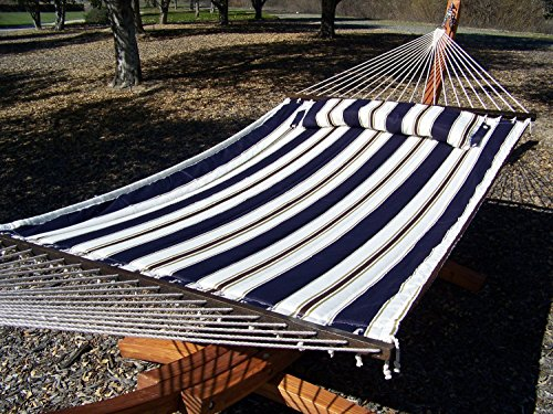 Petra Leisure 14 Ft Teak Wooden Arc Hammock Stand  Deluxe Quilted Elegant Blue Stripe Double Padded Hammock Bed wPillow 2 Person Bed 450 LB Capacity