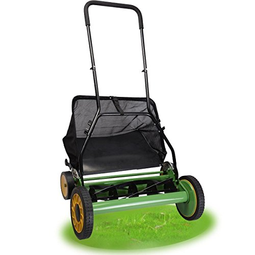 20 Height Adjustable Classic Hand Push Lawn Mower Reel Grass Catcher