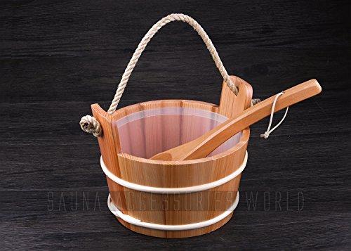 4L Solid Wood Red Cedar Sauna BucketPail And Ladle Sauna Accessories