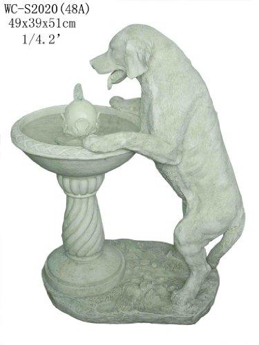 Garden Patio Outdoor Indoor White Labrador Dog Statue Sculputure Water Fountain With Pump Medium Size 20H