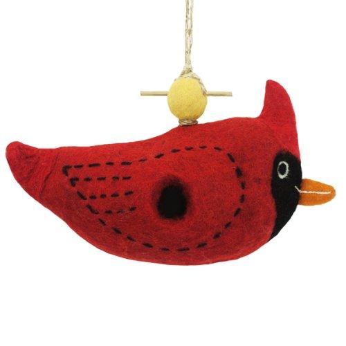 Wild Woolies Wool Felt Birdhousequotcardinal&quot Handmadeamp Fair Trade