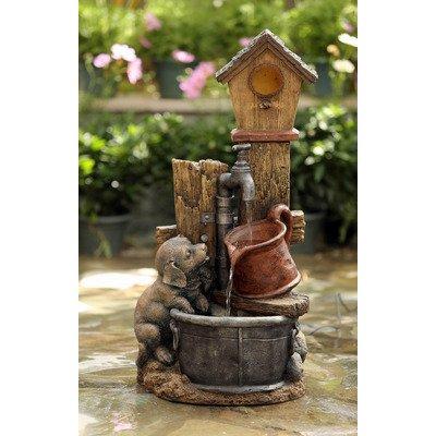 Jeco Birdhouse and Dog IndoorOutdoor Fountain