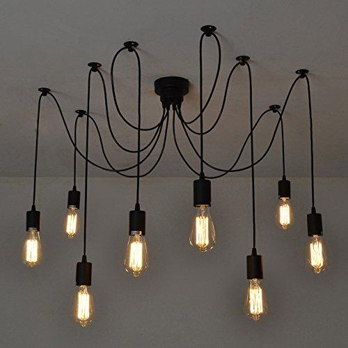 Fuloon Vintage Edison Multiple Ajustable Diy Ceiling Spider Lamp Light Pendant Lighting Chandelier Modern Chic