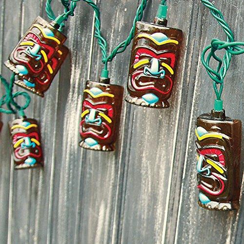 Indooroutdoor 85 Tiki Face String Light Set Of 10 3&quot Polynesian Masks