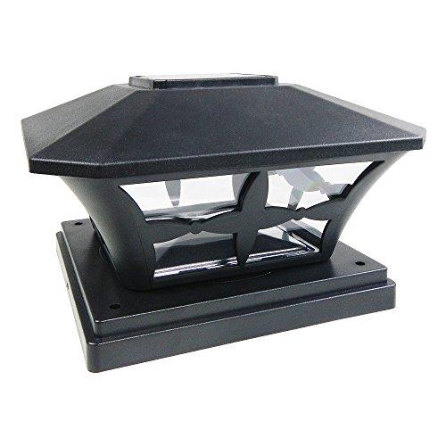 Iglow 1 Pack Black Outdoor Garden 6 X 6 Solar Smd Led Post Deck Cap Square Fence Light Landscape Lamp Pvc Vinyl