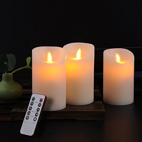 Calm-life Classic Pillar Real Wax Flameless LED Candles 3 X 5 with Timer 10-key Remote Control Feature Ivory Color - Set of 3