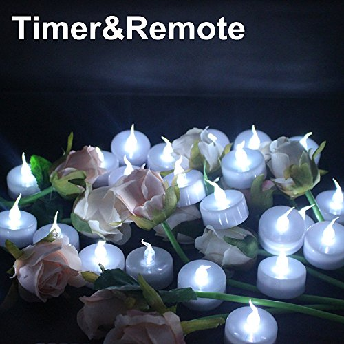 Topstone Battery Powered Flamless Tealight CandlesWith 4H 6H 8H Timer and Remote Control Pack of 24 White
