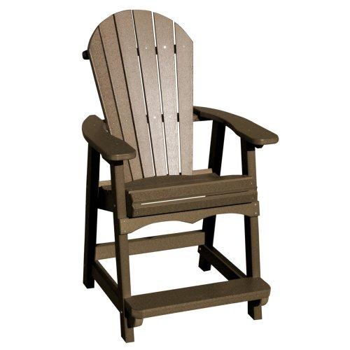 Vifah V1086-ww Recycled Plastic Adirondack Bar Chair Weathered Wood
