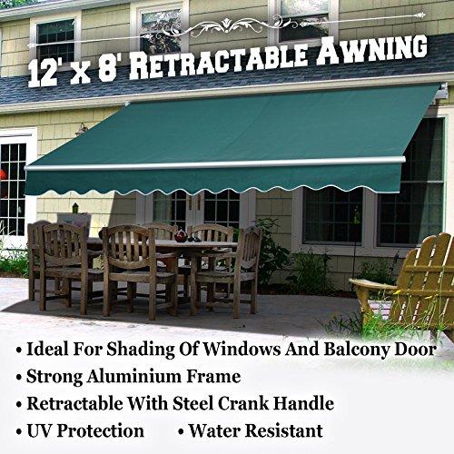 BenefitUSA 12x8 Outdoor Manual Yard Retractable Patio Sun Shade Canopy Awning 3 SECTIONS Dark Green