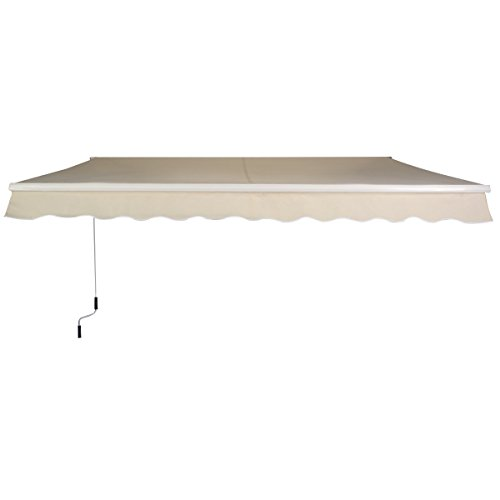 GoplusManual Patio 82×65 Retractable Deck Awning Sunshade Shelter Canopy Outdoor Beige