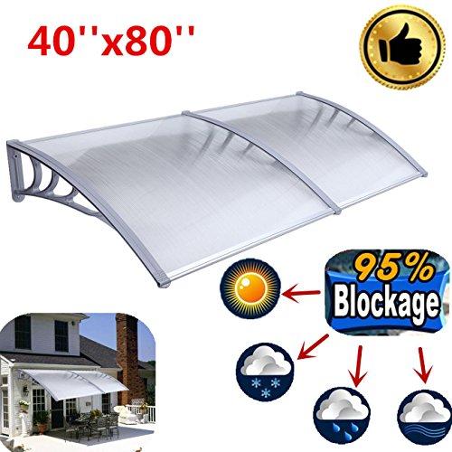 Ridgeyard 1m X 2m Overhead Clear Door Window Outdoor Awning Door Canopy Patio Cover Modern Polycarbonate