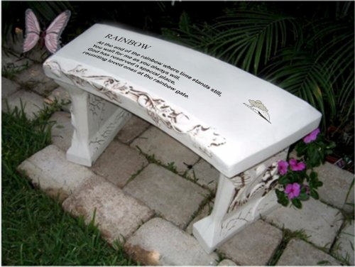 Hand Crafted rainbow Bridge Cast Stone Garden Bench By Southwest Graphix - Personalization Available