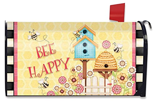 Bee Happy Spring Mailbox Cover Beehive Birdhouse Floral Briarwood Lane
