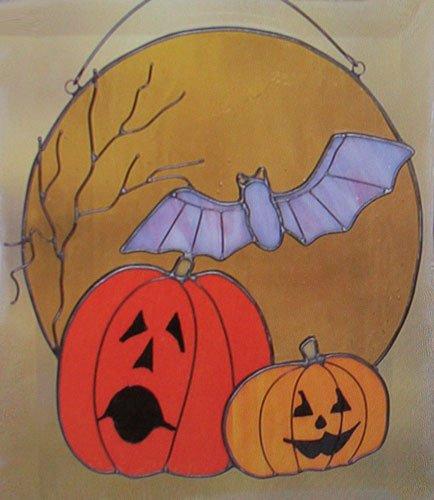 8&quot X 7&quot Full Moon Halloween Sun Catcher Stained Glass Pumpkin Bat Jack O Lantern