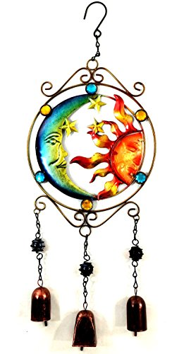 Bejeweled Display&reg Moon And Sun Faces W Stained Glass Wind Chimes Bell