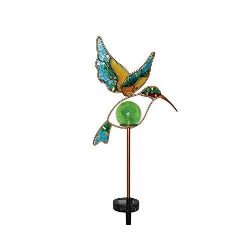 Moonrays 91444 Solar Powered Garden Glass Hummingbird Stake Led Light Metalamp Glass