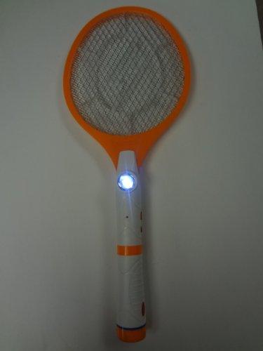 Electronic Bug Zapper Racket Orange White with Built in Flashlight