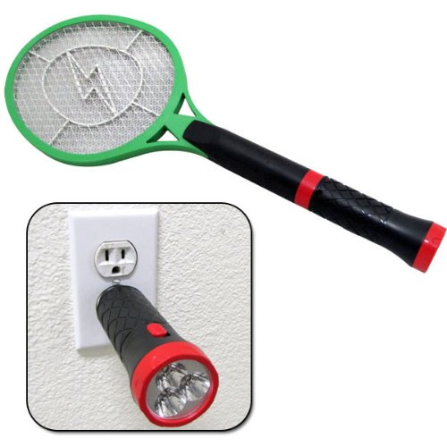 Rechargeable Handheld Electric Fly Mosquito Bug Hitting Swatter Zapper And 3 Led Flashlight new 2013 Model
