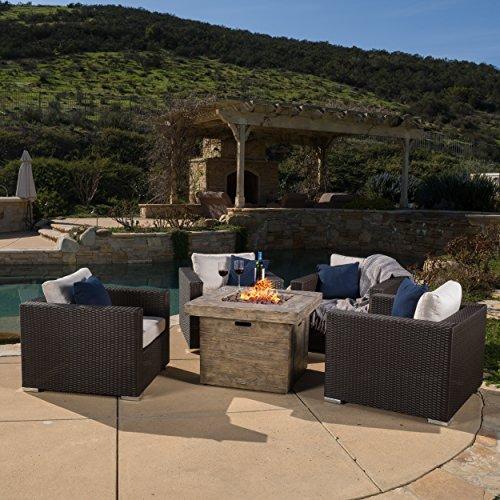 Soleil Outdoor 4-piece Wicker Club Chair Set w Sunbrella Cushions  32-inch Square Liquid Propane Fire Table