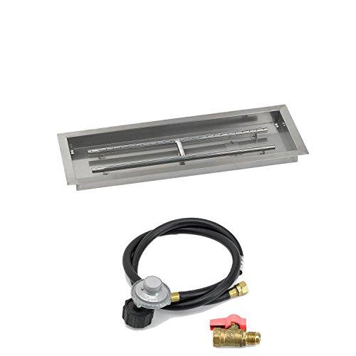 American Fireglass Match Light Fire Pit Kit Rectangular Bowl Pan 30x10 Inch Propane Gas LP