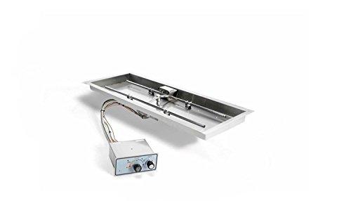 Hearth Products Controls FPPK24X12-H-FLEX-LP Push Button Flame Sensing Propane Gas Fire Pit Kit 24x12-Inch Bowl Pan