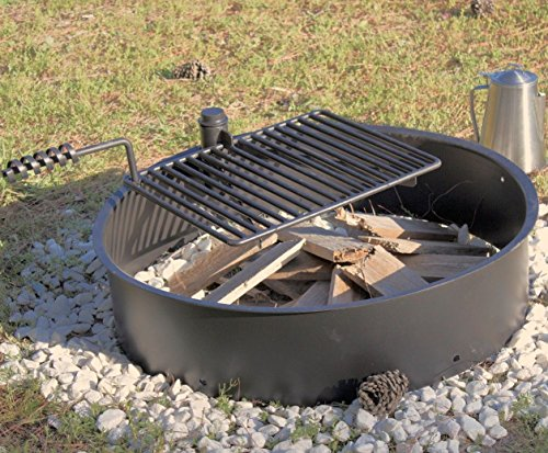 32&quot Steel Fire Ring With Cooking Grate Campfire Pit Park Grill Bbq Camping Trail