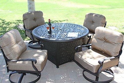 Elizabeth Cast Aluminum Powder Coated 5pc Deep Seating Set With 52&quot Firepit With Enclosure - Antique Bronze