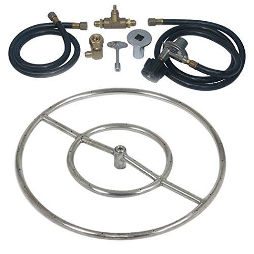 Dreffco 18&quot Stainless Steel Complete Fire Pit Burner Ring Kit For 20 Lb Portable Lp Tanks
