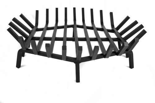 24 Round Carbon Steel Fire Pit Grate with Char Guard Ember Catch