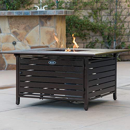 BELLEZE 40000 BTU Square Rust-Resistant Gas Outdoor Propane Heater Fire Pit Table Adjustable Aluminum with Doors Bronze