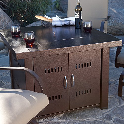 NEW Clevr Home 38 Propane Patio Heater Table Fire Pit Bronze Finish Glass