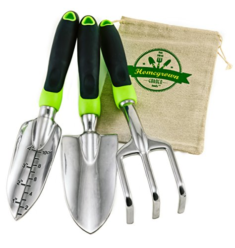 3-Piece Garden Tool Set with Ergonomic Handles from Homegrown Garden Tools Includes Burlap Tote Sack Makes the Perfect Gift