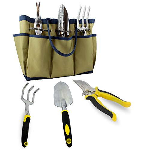 7 Piece Garden Tool Set With Durable Cast Aluminum Heads Plus Ergonomic Handles And Sizable Garden Tote Bag