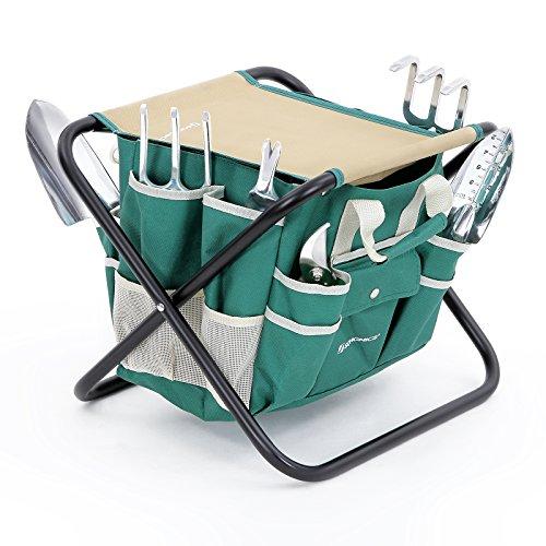 Songmics 8 Piece Garden Tool Set W Tool Bag Folding Stool Uggs39l