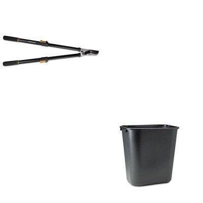 KITFSK91686935JRCP295600BK - Value Kit - Fiskars Telescoping Power-Lever Bypass Lopper FSK91686935J and Rubbermaid-Black Soft Molded Plastic Wastebasket 28 18 Quart RCP295600BK