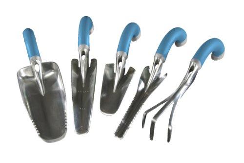 Radius Garden 5-piece Blue Ergonomic Hand Tool Set, Includes Trowel, Transplanter, Weeder, Cultivator, And Scooper