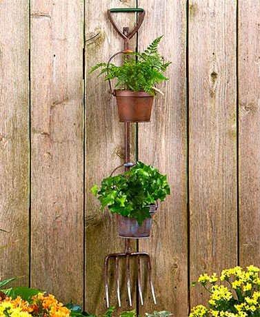 Rustic Garden Tool Planters- Pitchfork